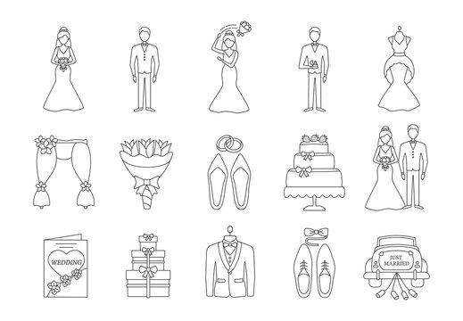 Wedding planning linear icons set