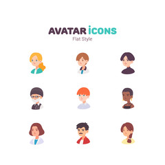 People avatar color flat icons design