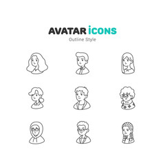 People avatar outline icons design