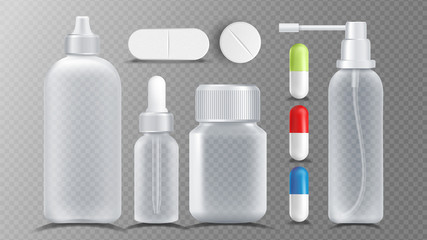 Transparent Medical Container Vector. Jar For Tablets, Vitamin, Capsule. Packaging Design Isolated Realistic Illustration