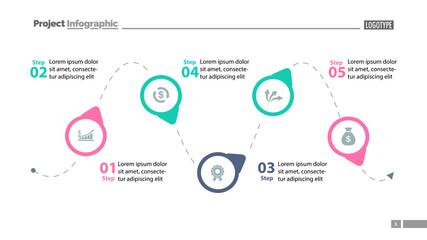 Five Step Process Chart Slide Template 2