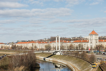 Panorama of the river and town of Kaunas from bridge