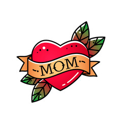 Heart with ribbon and inscription Mom. Greeting retro greeting card element for Mother's Day. vintage tattoo. flat vector illustration isolated