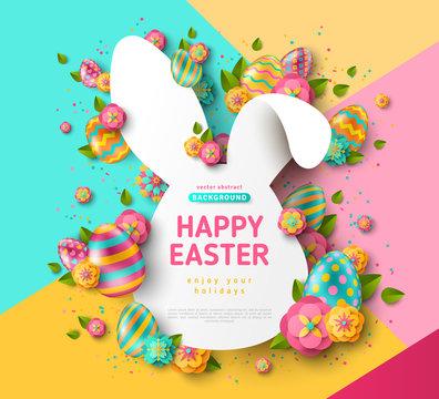 Easter rabbit frame and eggs