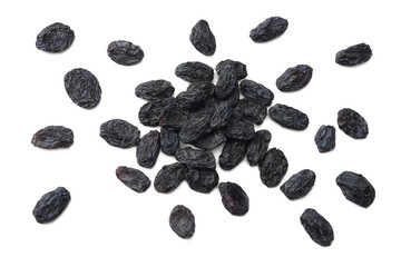 black raisins isolated on white background. top view