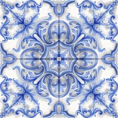 Tile or mosaic ornament Vector watercolor. Medalion rosette style decor templates