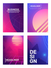 Business gradient retro futurism abstraction, background with space planet, star. Vector set of creative pink and blue abstract illustration with header.