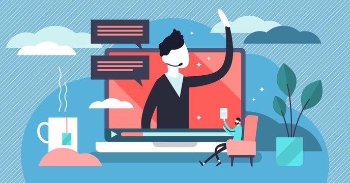 Webinar vector illustration. Flat tiny marketing video tool persons concept