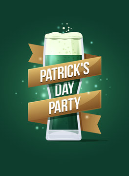 """Poster to celebrate happy St. Patrick's Day. Glass of beer with gold ribbon and inscription: """"Patrick's Day Party"""". Vector holiday illustration."""