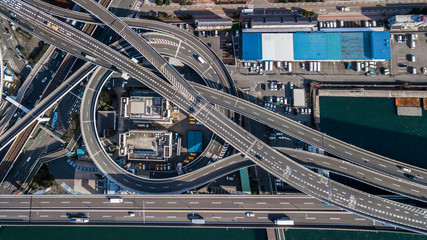 Aerial view interchange highway and overpass in city of Osaka City, Osaka, Kansai, Japan