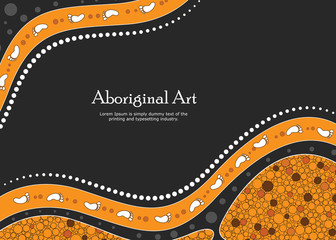 Aboriginal art vector banner with text.