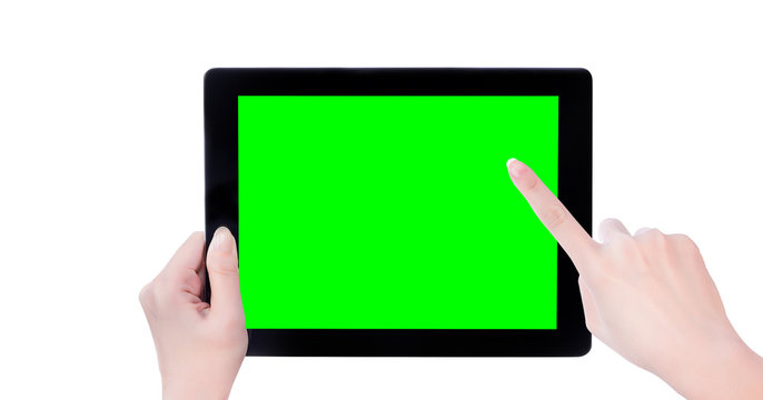 Young beautiful girl holding a black tablet pc template with green screen isolated on white background, close up, mock up, clipping path, cut out