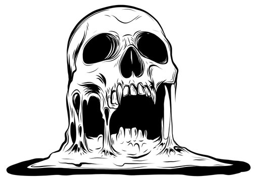 skull that is melting vector drawing illustration