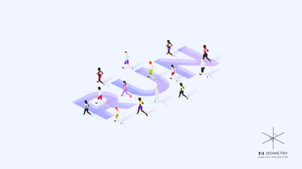 People Run On Text Design. Conceptual Isometric Illustration. Dimetric Video Game Ready Projection.