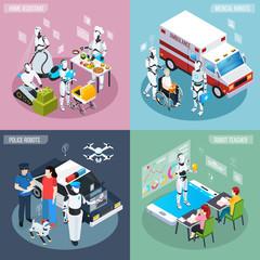 Robot Isometric Professions Icon Set