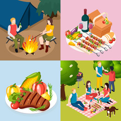 Bbq Grill Picnic Isometic Icon Set