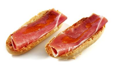 cured ham toast isolated