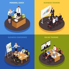 Business Coaching Isometric Icons Set