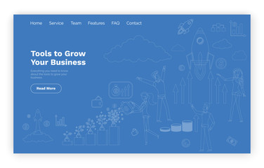 Blueprint tools to grow business online web page template vector. Rocket start and money growth, entrepreneurs and graphics, website or landing page flat style
