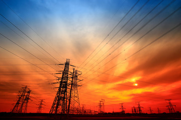 Electric tower, silhouette at sunset