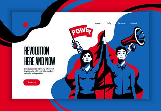 Revolution Concept  Banner Website