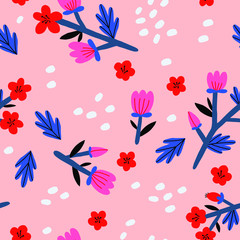 Cute Floral vector pattern. Seamless texture with blooming flowers.