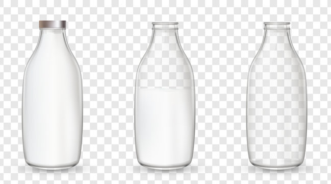 Realistic glass bottles with a milk.