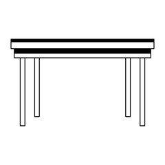 Office desk furniture isolated in black and white