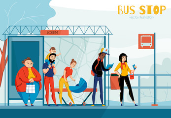 Queue People Bus Station Composition