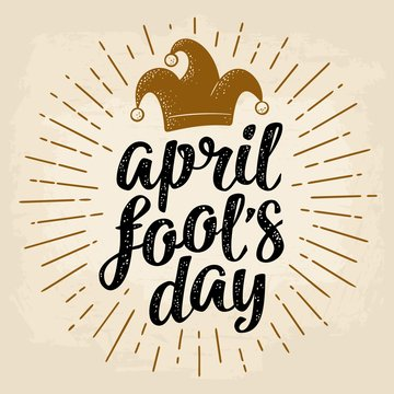 April fool's day calligraphic handwriting lettering with jester cap engraving