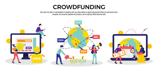 Crowdfunding Compositions Horizontal Set