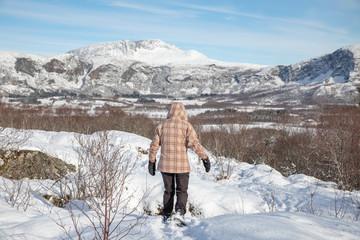 Hiking in Norwegian winter landscape