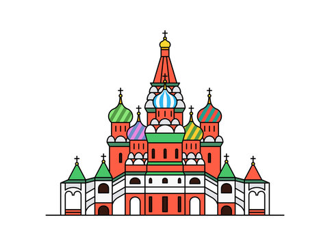 Saint Basil's Cathedral icon, Moscow Russia. isolated on white background