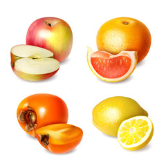 Set of four fruits in realistic style