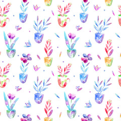Floral seamless pattern of a flowers in pot and berry. Watercolor hand drawn illustration.White background.