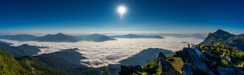 Wall Mural - Landscape of morning fog and mountains at sunrise. Doi pha tang mountains.