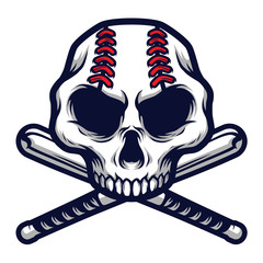 Skull with Crossed Baseball Bat Logo Badge