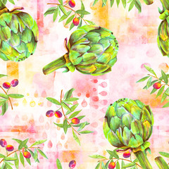 A seamless watercolor pattern of vibrant olive tree branches with olives and artichokes, a Mediterranean cuisine repeat print on a pink background