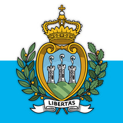San Marino Republic coat of arms on the national flag, vector illustration