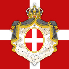 Sovereign Military Order of Malta coat of arms on the official flag, vector illustration