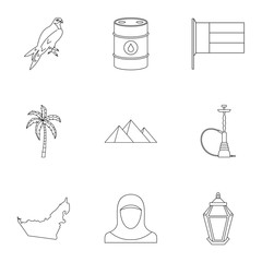 State of UAE icons set. Outline illustration of 9 state of UAE vector icons for web