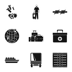 People refugees icons set. Simple illustration of 9 people refugees vector icons for web