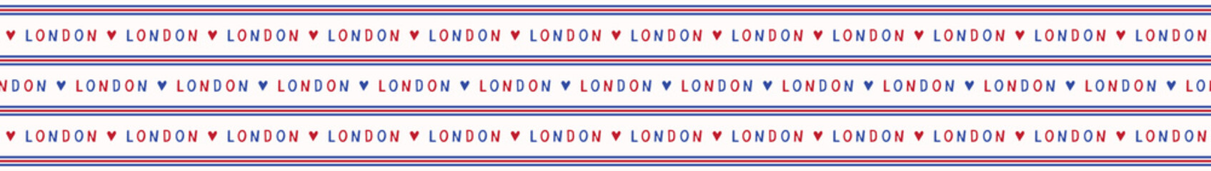 I love London lettering text seamless vector pattern. Famous historical british destination backdrop for travel vacation wallpaper, british uk sightseeing all over print. Typography in red blue white.