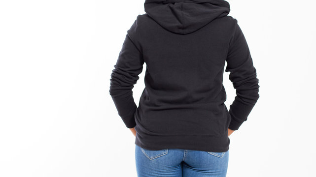 Beautiful Afro American Girl In Black Sweatshirt On White Background Isolated. Black Woman in hoodie mock up : Back View cropped image