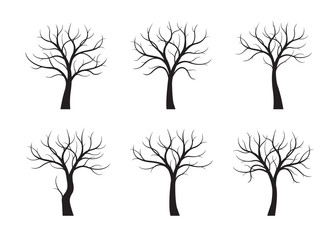 Set of Black Trees without leaves. Vector Illustration.
