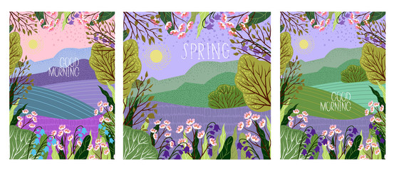 Photo sur Plexiglas Lilas Set of Vector illustration in trendy flat cute style - flowers, trees and nature landscape