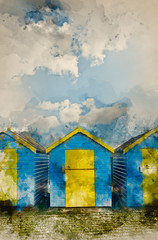 Watercolour painting of Beach Huts agsinst vibrant blue Summer sky