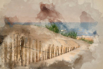 Watercolour painting of Grassy sand dunes landscape at sunrise