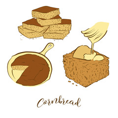 Colored sketches of Cornbread bread