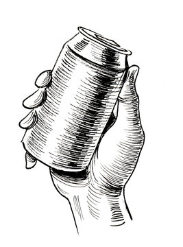 Hand holding a beer can. Ink black and white drawing